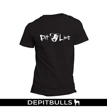 CAMISA ESTAMPADA CON IMAGEN DE PITBULL Camisa con dibujo y texto de pitbulls life