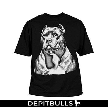 CAMISA ESTAMPADA CON IMAGEN DE PITBULL Camiseta con estampado grande de PitBulls bully color blanco