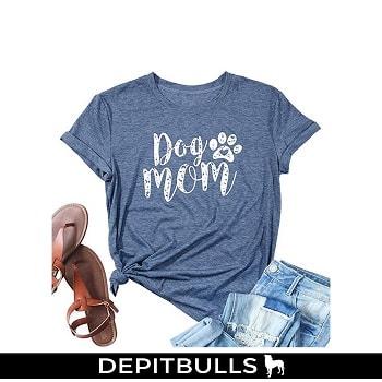 Camiseta de manga corta con estampado de huellas de perro pitbull
