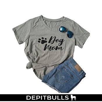 """Camiseta de manga corta para mujer, cuello en V, diseño con texto """"Mom"""""""