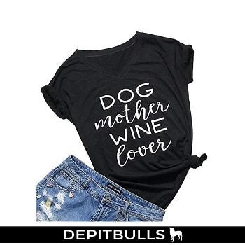 Camisa manga corta con estampado,cuello en V, diseño de huellas de perro pitbull
