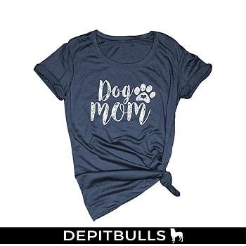 Camiseta de manga corta para mujer con estampado huella de pitbulls