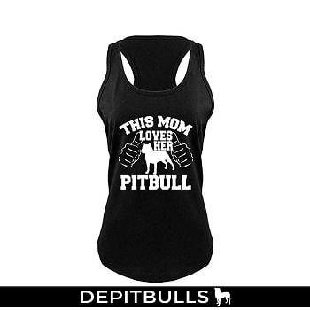 camisa de mujer, este mamá ama su Pitbull espalda cruzada