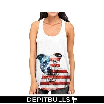 Camisa escotada de la bandera americana Pitbull