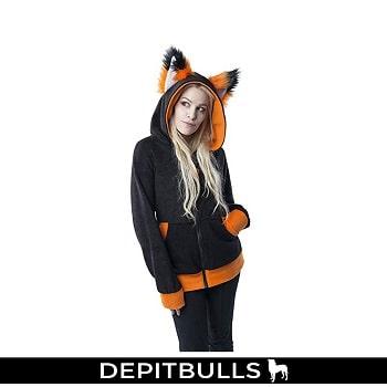 Yip Fox Eared, diseño de lobo con capucha para mujer