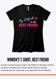 """Genial camiseta para mujer """"My PitBull Is My Best Friend"""" en gran variedad de colores, ideal para las damas amantes de las mascotas y en especial de los Pitbulls. caniseta color negro CAMISETAS A LA MODA PARA MUJER ESTAMPADA CON IMAGEN DE PITBULL Y FRACES DE AMOR A LOS PITBULLS"""