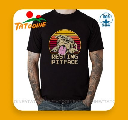 CAMISA-ESTAMPADA-CON-IMAGEN-DE-PITBULL-Camisa-con-dibujo-y-texto-de-pitbulls-para-hombre-de-hombre Camiseta de perro Pitbull para amantes de los perros con cara en reposo, camiseta Vintage de algodón de tamaño europeo 100% transpirable Vintage Tatooine Pit Bull Dog Tops